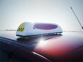 Рекламный световой короб на такси «Метелица Евро»