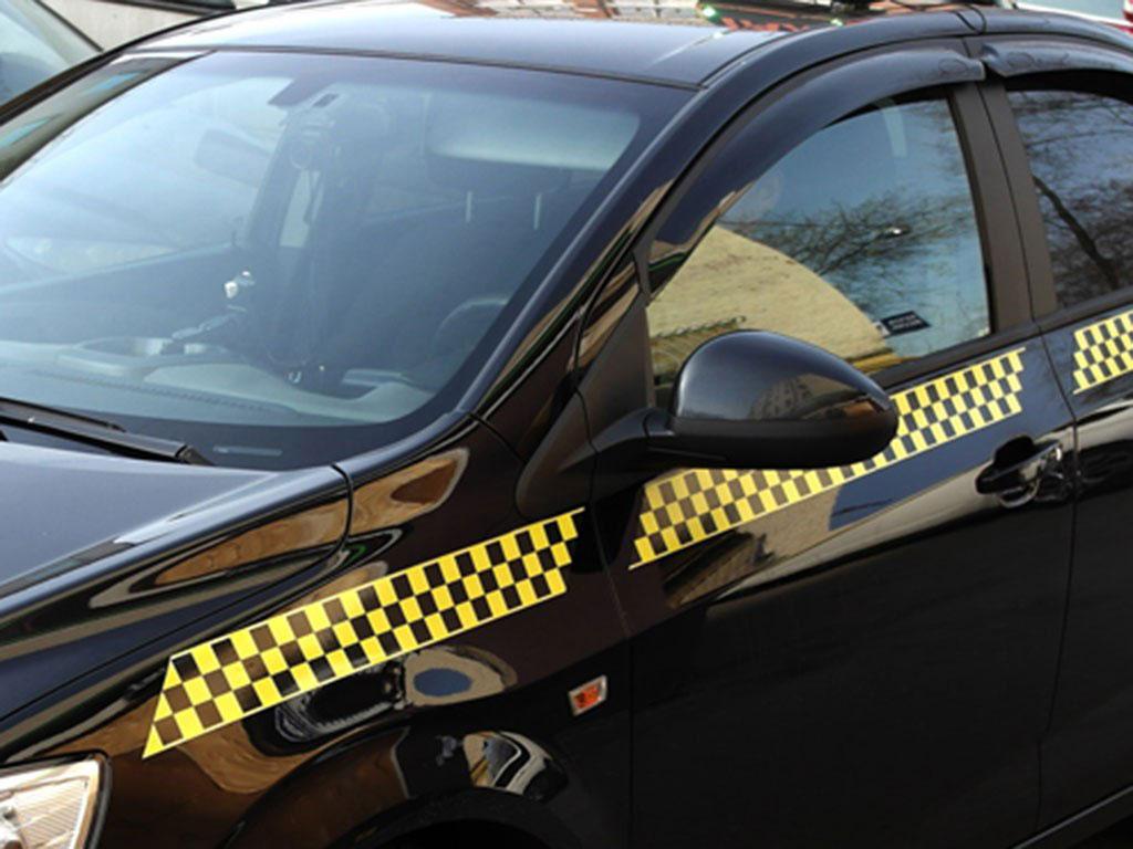 Магнитные наклейки на такси. Шашечные пояса.